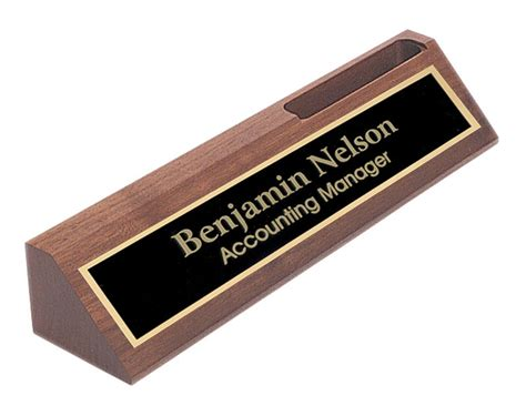 office desk name plates personalized walnut name plate bar w business card holder