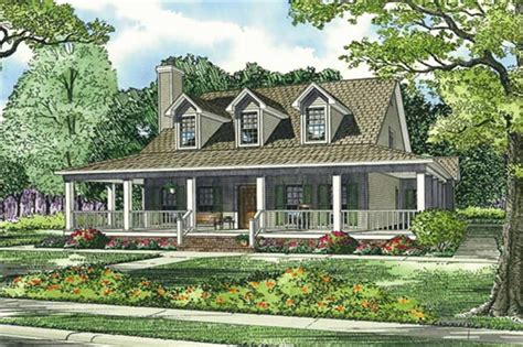 square house plans with wrap around porch southernplan 153 1454 4 bedrm 3 car garage theplancollection