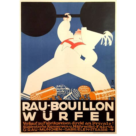 german deco poster for rau bouillon wurfel 1930 for sale at 1stdibs