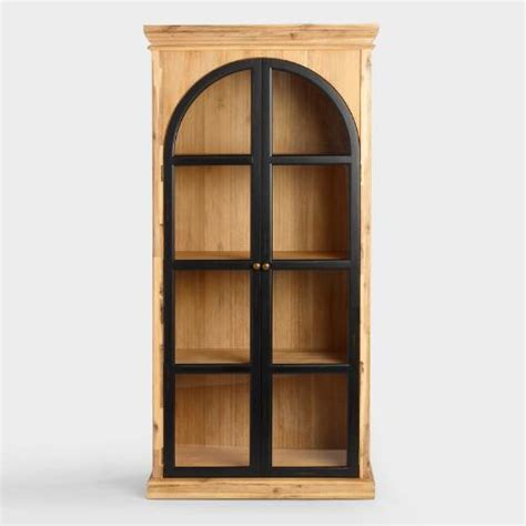door curio cabinet wood ellington arched door curio cabinet world market