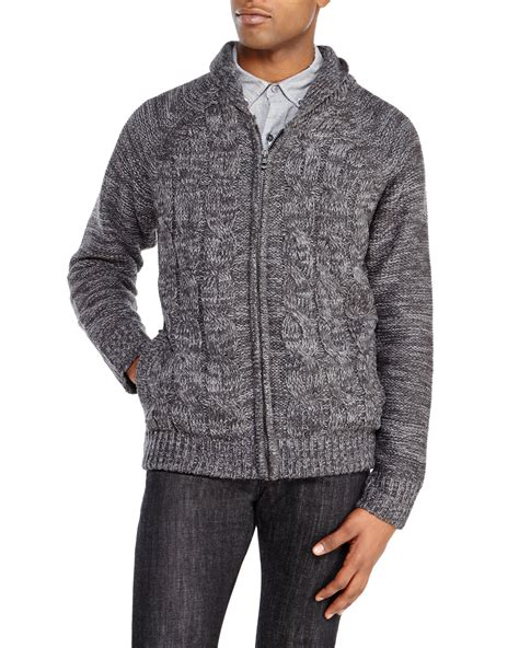 zip up cable knit sweater weatherproof charcoal cable knit zip up sweater in gray