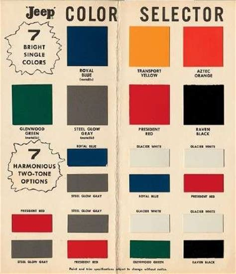 paint colors for jeeps willys paint colors 1957 willy s forward