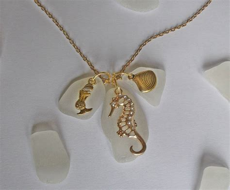 how to make jewelry from sea glass sea glass cluster necklace with gold sea charms sea