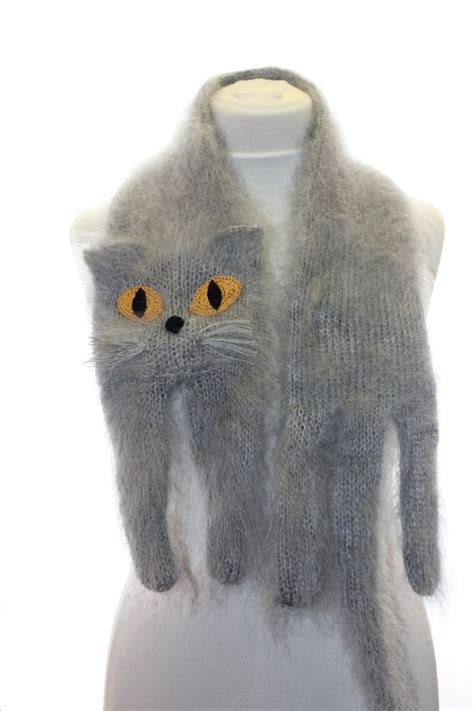 knitted cat scarf pattern knitted scarf blue cat fuzzy soft scarf grey