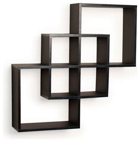 contemporary wall shelves intersecting squares decorative wall shelf black