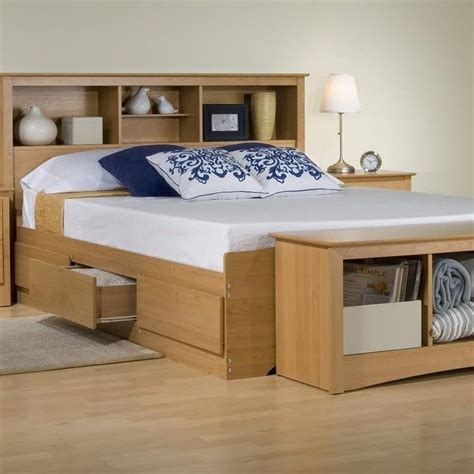 beds with bookcase headboard platform storage bed w bookcase headboard maple