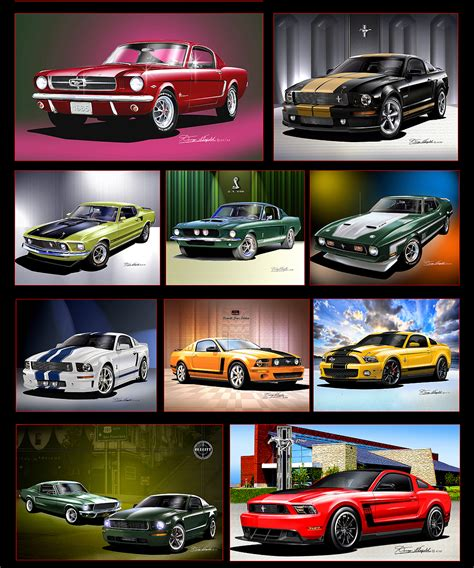 Car Collage Wallpaper by Mustang Collage Car Print Celebrating Ford Mustang