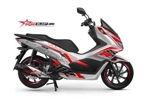 Pcx 2018 Shock Miring by Modifikasi Striping Honda New Pcx 150 White R Edition