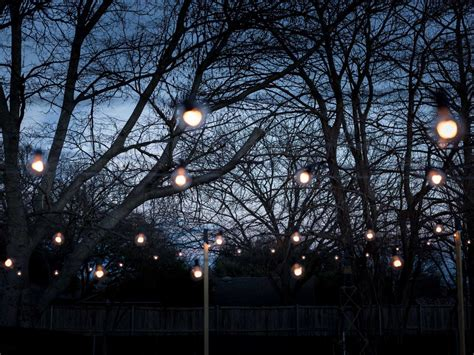 how to string lights on outdoor trees how to hang outdoor string lights from diy posts hgtv