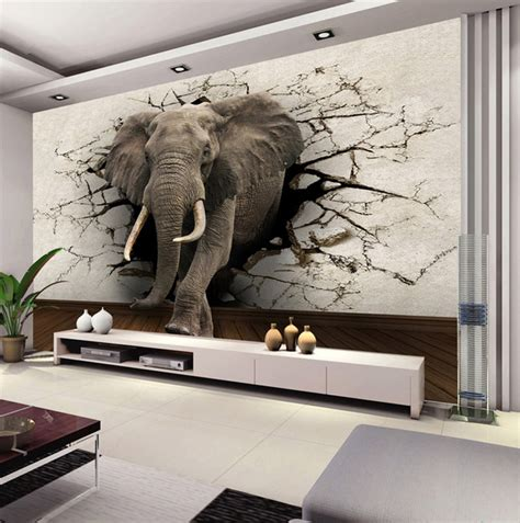 Best Wall Murals custom 3d elephant wall mural personalized silk photo