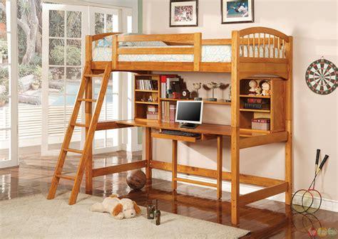 wood loft bunk bed medium wood finish workstation loft bunk bed