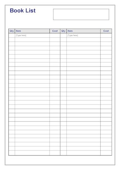 picture book list book list template timesavers templates resources