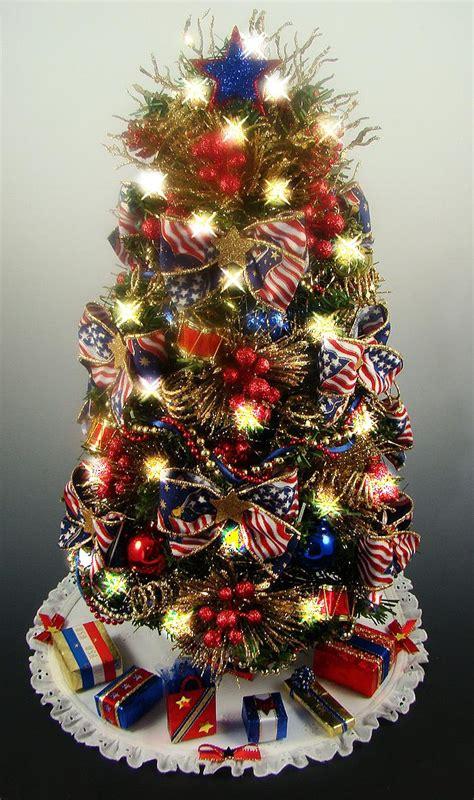 black mini tree decorated patriotic tabletop mini tree white