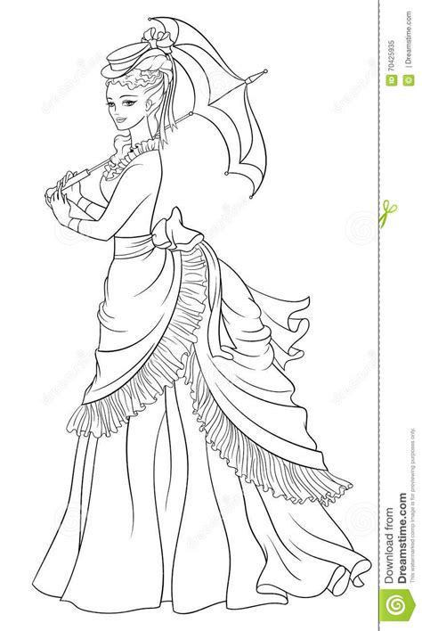 victorian style dressed lady with umbrella line art