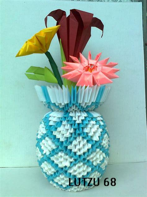 origami 3d flower vase origami vase album lutzu 3d origami