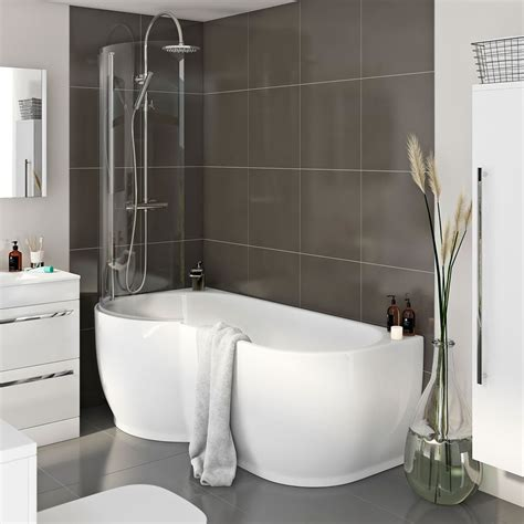 small baths with showers mode maine left handed p shaped shower bath and shower