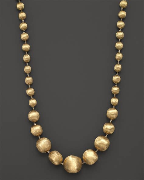 gold bead necklace marco bicego 18k yellow gold africa graduated bead