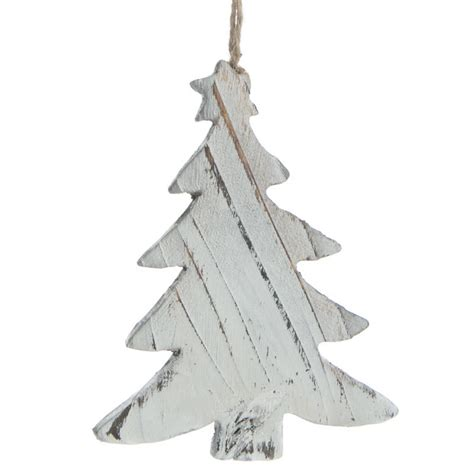 white ornament tree rustic white washed wood tree ornament