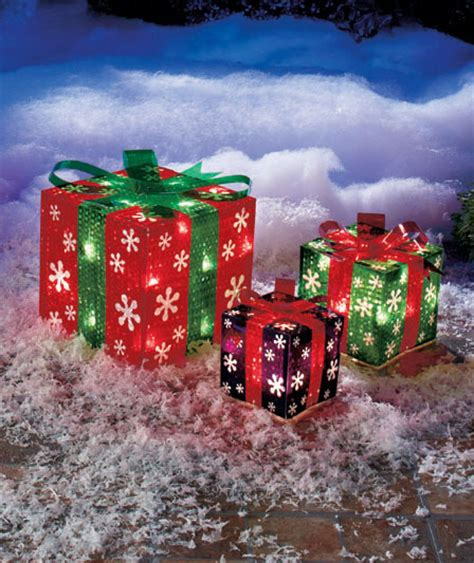 outdoor present decorations snowflake set of 3 lighted gift boxes indoor outdoor