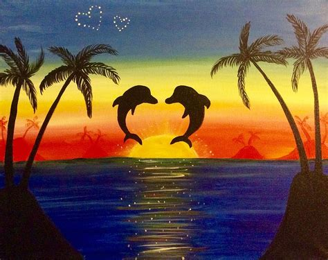 paint nite island pictures paint nite dolphins in