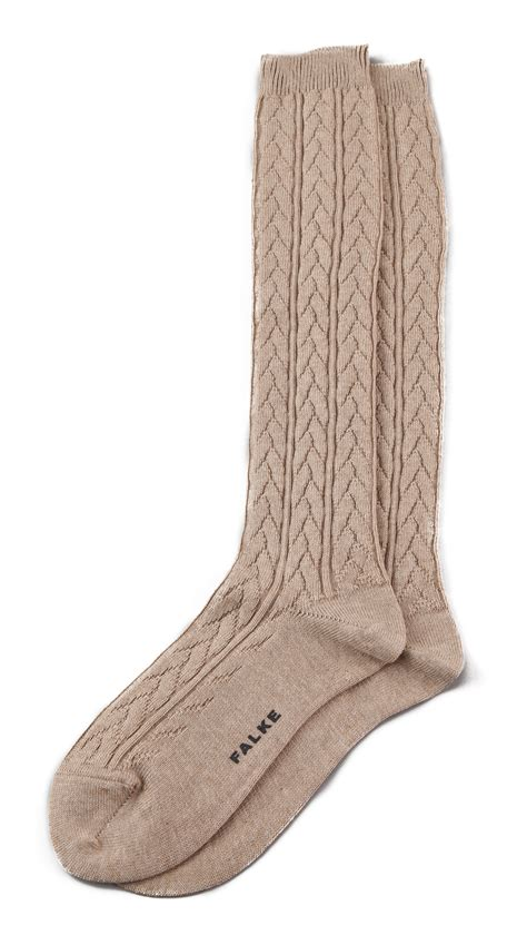 cable knit knee socks falke striggings cable knit knee high socks grey in