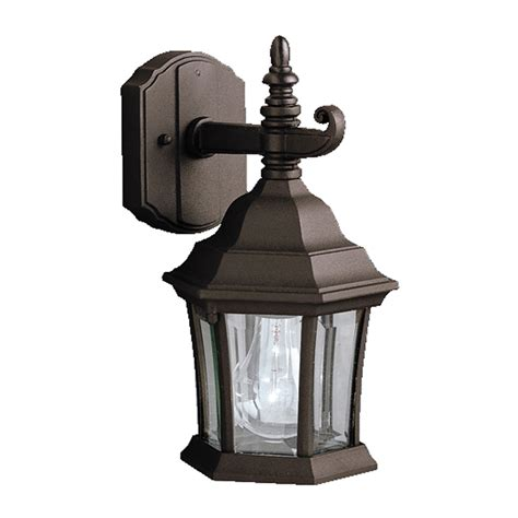 shop kichler townhouse 11 75 in h black outdoor wall light at lowes