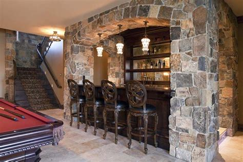How To Tile A Basement by Rustic Basement Bar Pictures Home Bar Transitional With