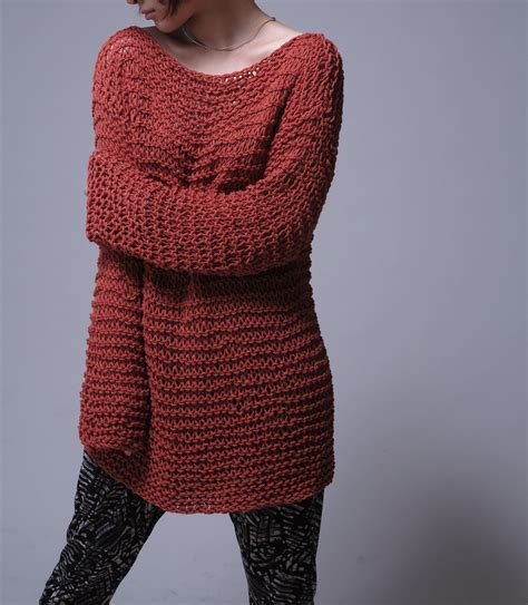 Knit Sweater Eco Cotton Oversized Sweater In Brick