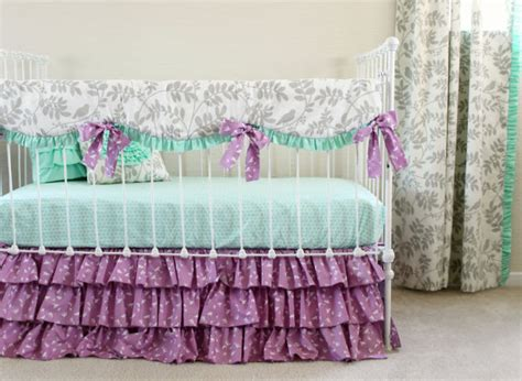 purple nursery bedding sets purple crib bedding mint and purple baby bedding set