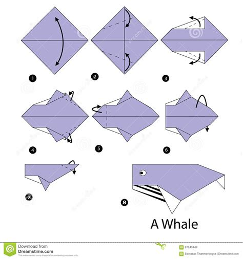how to make an origami whale step by step how to make origami whale stock