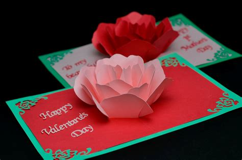 how to make cool valentines day cards flower pop up card template