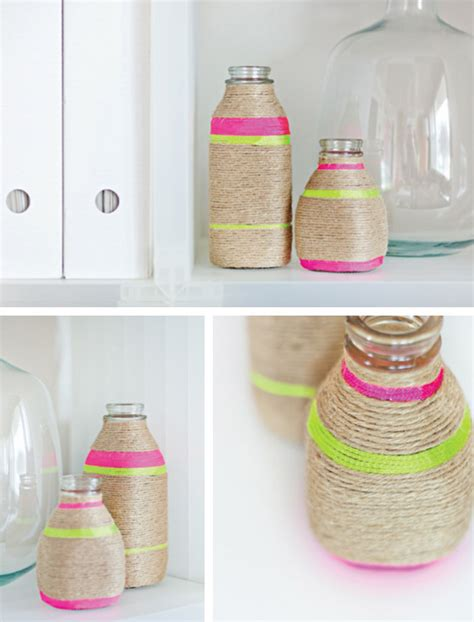 diy craft diy neon string wrapped vases