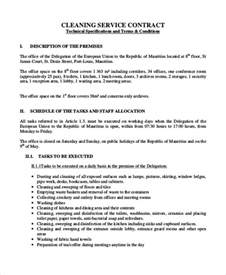 Subcontractors Agreement Template sample cleaning contract agreement 6 examples in word pdf