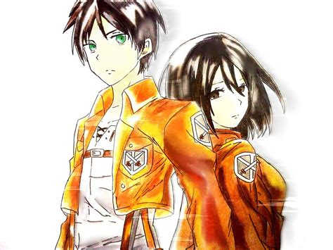 attack on titan eren and mikasa attack on titan eren jaeger and mikasa ackerman by
