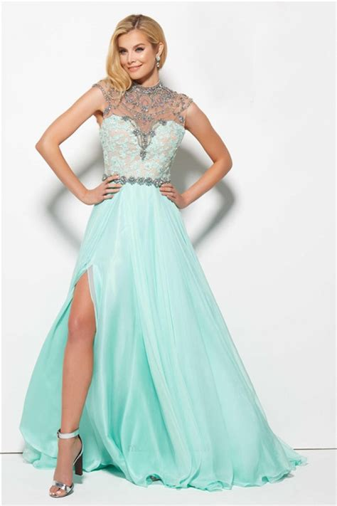 high neck beaded prom dress gorgeous high neck cut out back mint green chiffon