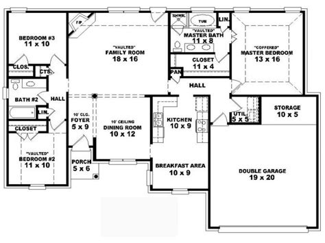 house designs bedrooms 4 bedroom one story house plans residential house plans 4