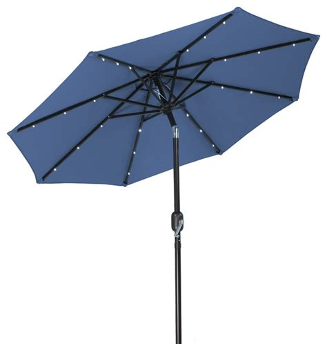 patio solar umbrella 7 solar led patio umbrella blue outdoor umbrellas by trademark innovations