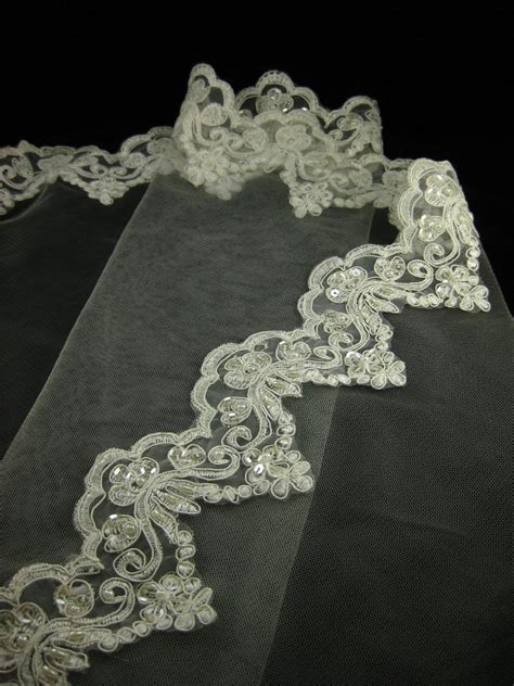diy veil with beading 108 quot scalloped end beaded alencon lace