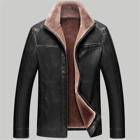 lined leather jacket fashion 2015 fleece lining leather jacket winter thicken faux fur lined smooth pu leather