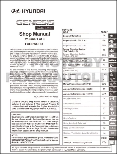 service manual 2010 hyundai genesis coupe workshop manual