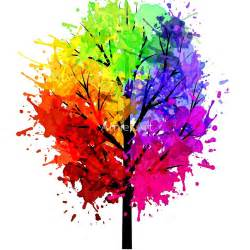 tree color in quot rainbow tree with colour splats quot prints by arniesart
