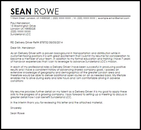 delivery driver cover letter sample livecareer