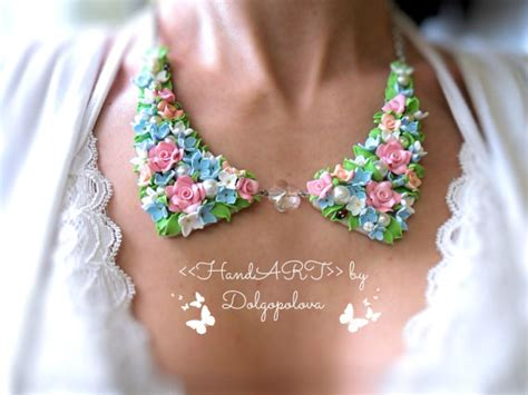 best clay for jewelry polymer clay flower necklace collar jewelry best gift for