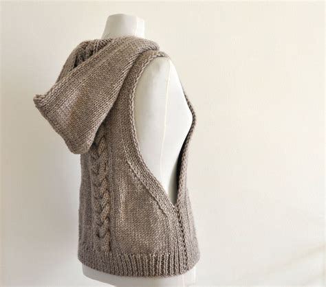 knit sweater vest sweater vest hooded vest sweater knit pale brown