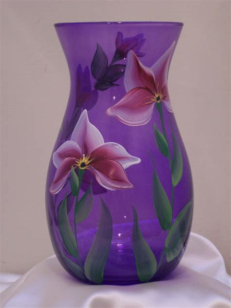 purple glass purple glass vase with lilies