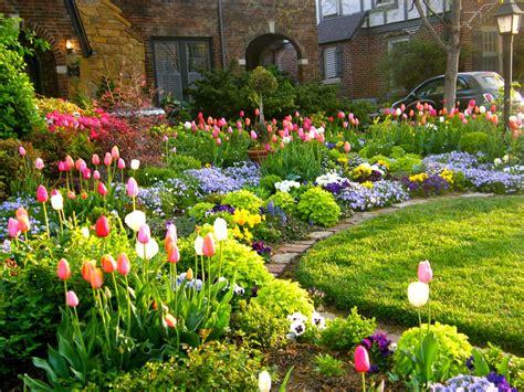 front yard flower garden tulip season front yard garden curb appeal flowers