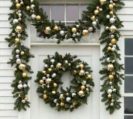 silver and gold garland outdoor ornament pine garland gold silver pottery barn