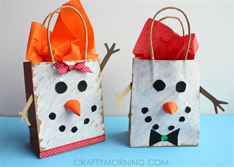 kid crafts for gifts snowman gift bags for to make crafty morning