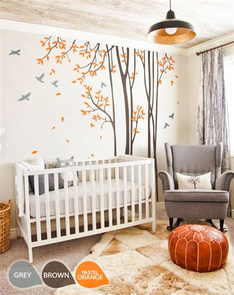 tree decal for nursery wall large nursery wall decal set with grey birds and orange