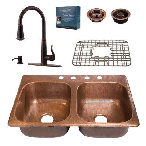 copper kitchen sink faucets sinkology pfister all in one copper kitchen sink 33 in 4